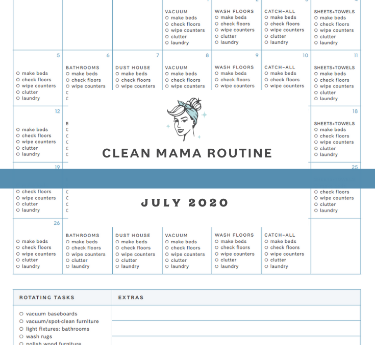 Free July 2020 Homekeeping Calendar